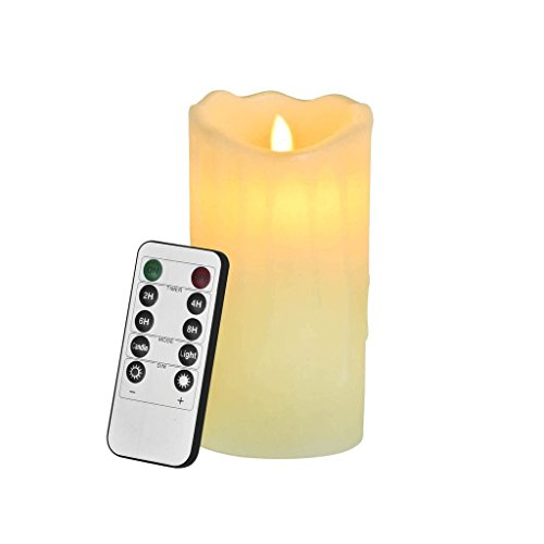 Price comparison product image Newcomdigi Real Wax Flameless Candle with Timer and Dimmer,  Classic Pillar Candle, Electric Candles(7 Inch)