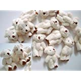 10pc Craft Mini Plush Teddy Bear Doll 4cm (H139-White) US Seller Ship Fast