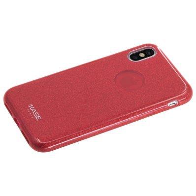 Coque slimpailletée étincelante pour Apple iPhone X, Rouge