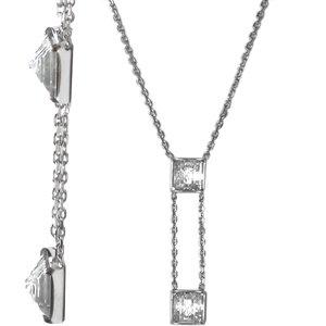 LALIQUE Crystal Pyramid Y Necklace Clear - Lalique Clear Crystal