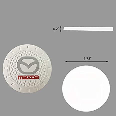 Bearfire 2.75 Inch Diameter White Oval Tough Logo Vehicle Travel Auto Cup Holder Insert Coaster Can 2 Pcs Pack fit Cadillac