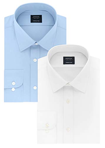 - Arrow Men's Dress Shirt Poplin, White/Robins Egg Blue, 16-16.5