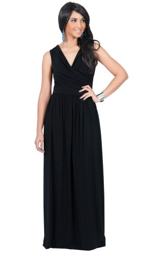 Black Designer Dress - KOH KOH Womens Long Sleeveless Sexy Summer Semi Formal Bridesmaid Wedding Guest Evening Sundress Sundresses Flowy Gown Gowns Maxi Dress Dresses, Black M 8-10