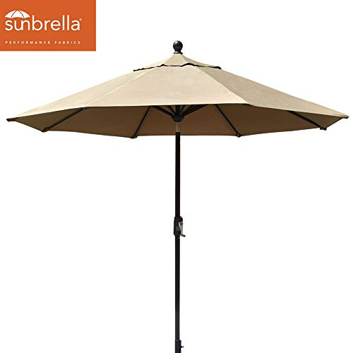 EliteShade Sunbrella 9Ft Market Umbrella Patio Outdoor Table Umbrella with Ventilation (Sunbrella Heather Beige) ()