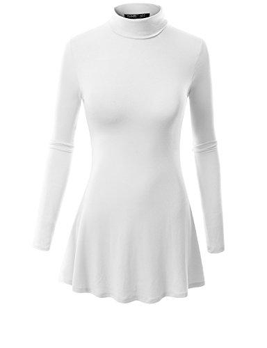 White Turtleneck Dress (TWINTH Womens Turtleneck Long Sleeve Various Hem Tunic Top Dress, White,)