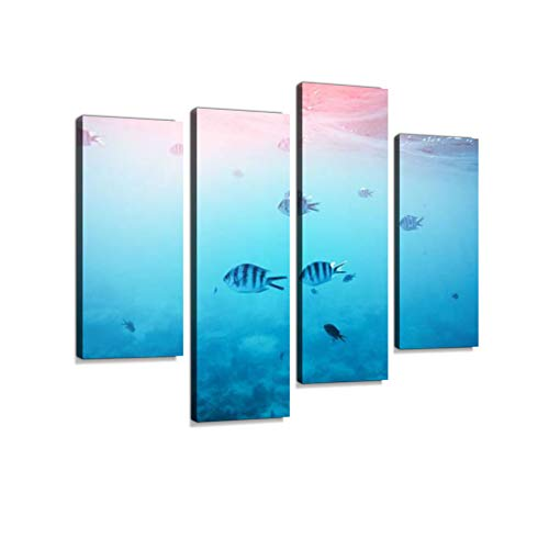 Tropical Fishes Canvas Wall Art Hanging Paintings Modern Artwork Abstract Picture Prints Home Decoration Gift Unique Designed Framed 4 Panel