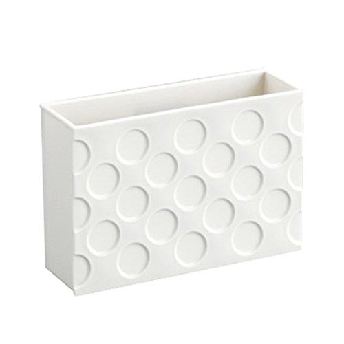 Refrigerator Strong Magnet Organizer Basket Box Container Magnets Plastic Holder for Whiteboard Recipe Note Stationery Utensil Storage Rack Tableware Office Kitchen Kids Room [White]