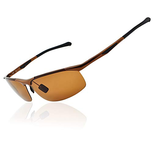 Ronsou Men's Sport Aluminium-Magnesium Polarized Sunglasses For Driving Cycling Fishing Golf Glasses brown frame/brown lens - Painted Outside Mirror Arm