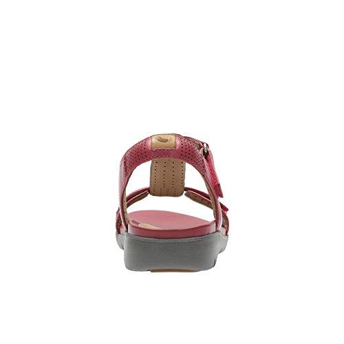 Clarks Damen Sommerlich Un Haywood Leder Sandalen Rot Größe 43