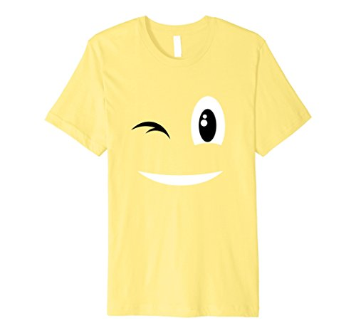 Unique Halloween Costumes For Two Friends (Mens Wink Emoji Face Costume T-Shirt for Halloween Group Team 3XL Lemon)