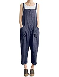 Women's Baggy Wide Leg Loose Overall Linen Harem Pants