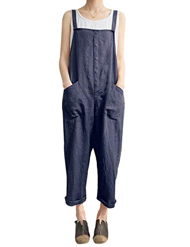 (Gihuo Women's Baggy Wide Leg Loose Overalls (Blue, XX-Large))