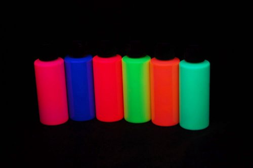 Assorted Blacklight Reactive Fluorescent Acrylic Paints, 6 P