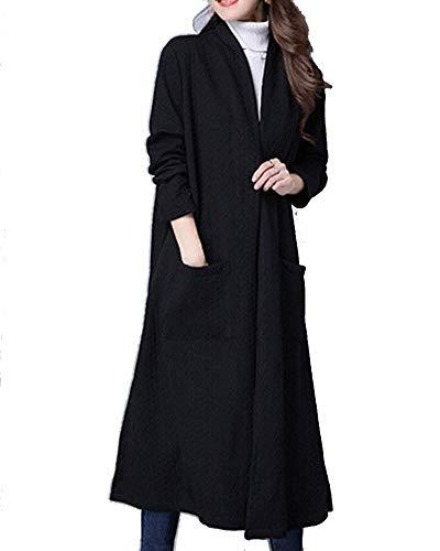 Confortevole Invernali Cappotto Moda Autunno Casual Stlie Manica Anteriori Cappotti Spacco Di Elegante Tasche Monocromo Schwarz Giacca Lunga Donna Grazioso Giubotto Z1qIqxnwXO