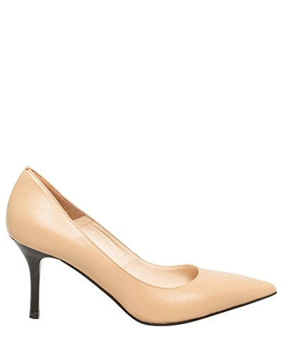 LE CHÂTEAU Women's Leather Pointed Toe Mid Heel Pump,7,Natural by LE CHÂTEAU