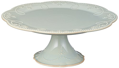 Lenox French Perle Pedestal Cake Plate, Medium, Ice Blue