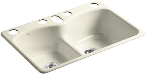 KOHLER K-6626-6U-FD Langlade Smart Divide Undercounter Kitchen Sink, Cane Sugar
