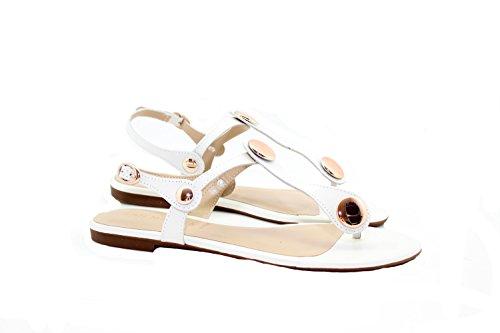 Edle Leder Pumps Sandalette Flip Flop SAN MARINA Nadama Blanc Weiss