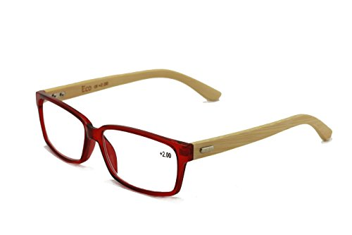 Vision World Genuine Bamboo Rectangular Reading Glasses Men Women Readers (Maroon, 1.5 x)