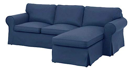 Sofa Cover Only! Dense Cotton Ektorp Loveseat with Chaise Lounge Sectional Cover Replacement for IKEA Ektorp Two Seat Chaise (Four Seat) Sofa Slipcover (Darker Blue)