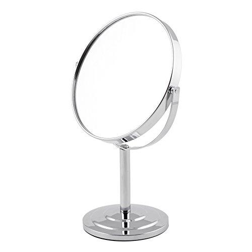 ARTRA Makeup Mirror Chrome 6-inch Tabletop Two-Sided Swivel with 3x Magnification, makeup mirror 11-inch Height, Chrome Finish Sliver