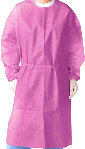 (Pack of 10) Isolation Gown with Elastic Cuff -Disposable Non-Woven, Splash Resistant, one size fits all (Pink) ()