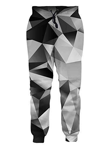 RAISEVERN Sportswear Pants 3D Printed Funny Personalized Lifelike Black and White Diamond Comfy Jogging Trousers for Men Women