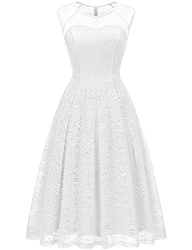Bbonlinedress Women's Vintage Floral Lace Sleeveless Bridesmaid Dress Formal Cocktail Party Swing Dress White 3XL