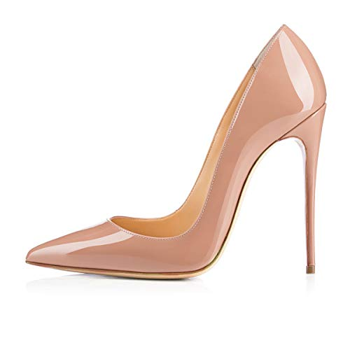 - Onlymaker Women's Sexy Pointed Toe Genuine Leather High Heels Slip On Stiletto Pumps Dress Basic Shoes Nude US7