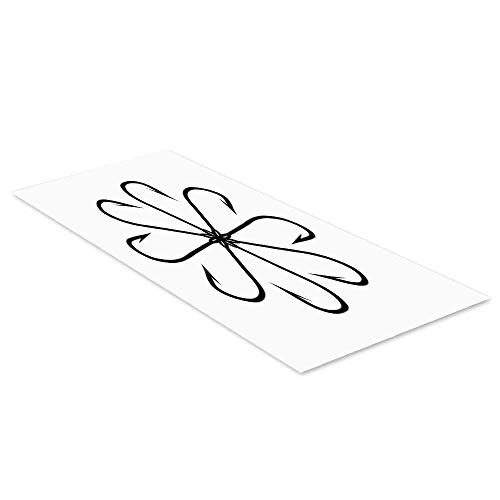 C COABALLA Fishing Decor Waterproof Floor Sticker,Flower Shaped Artisan Steel Multi Hook Gaff in Row New Needle Device Figure for Kitchen Living Room,35.4