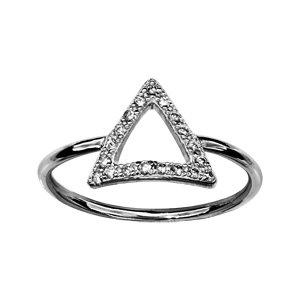 1001 Bijoux - Bague argent rhodié triangle oxydes blancs sertis