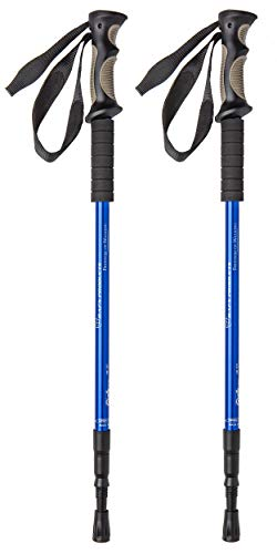 (BAFX Products - 2 Pack - Anti Shock Hiking / Walking / Trekking Trail Poles - 1 Pair, Blue, Royal Blue)