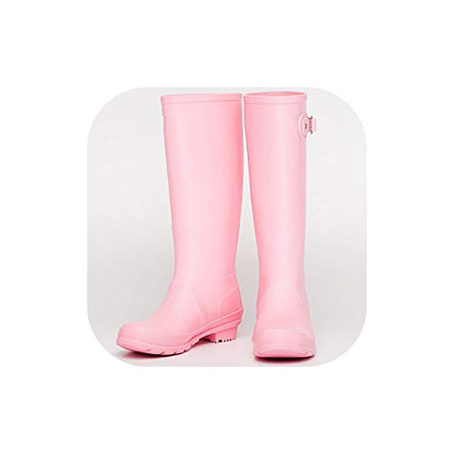 Matte Canvas Poly Cotton - Tall Rain Boots for Women Classic Waterproof Wellies Matte Boots,Pink,37