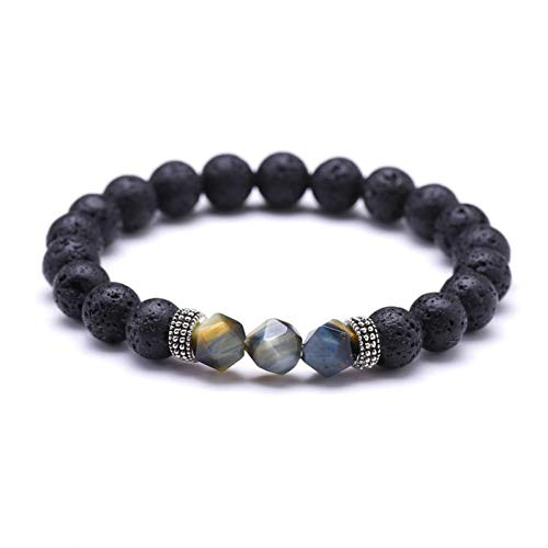 SLMCLUB Natural Cut Faceted Tiger Eye Stone Bracelet Men Lava Rock Energy Stone Bracelet for Women Gift for Him
