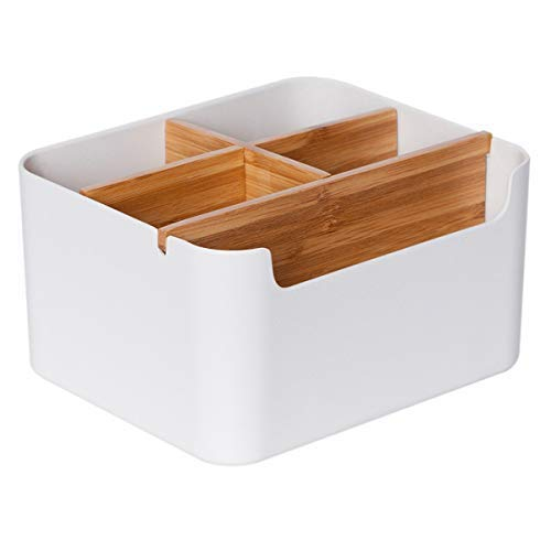 ZEN'S BAMBOO Desk Organizer Multifunction Office Supplies Storage Box Remote Control Holder Bedside Living Room Decor (Desk Organizer-S) ()