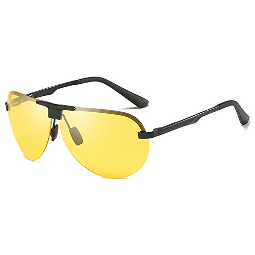 SYIWONG Mens Driving Polarizing Sunglasses Half Frame Super Light - Thick Glasses Wearing Guys