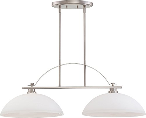 Nuvo Lighting 60/5018 Bentley Two Light Island Pendant 60 Watt A19 Max. Frosted Glass Brushed Nickel Fixture