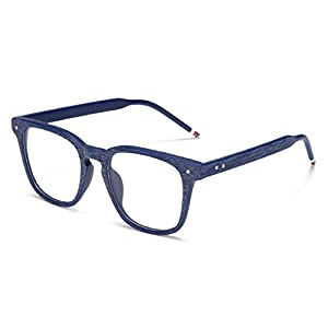 J&L Glasses Vintage Classic Full Frame Wood Grain Unisex Glasses Frame (Blue, Clear)