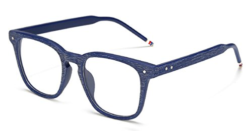 J&L Glasses Vintage Classic Full Frame Wood Grain Unisex Glasses Frame (Blue, Clear) ()