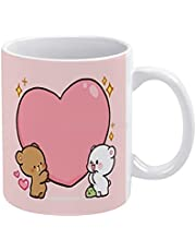 Coffee Tea Cups Mocha Mochi Couples White Mug White Ceramic Tea Cup Birthday Gift Milk Cups and Mugs Bear Cartoon Funny Cute Cute Bears Milk 3D Animal Glass