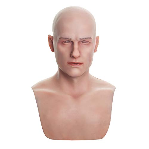 Bell Silicone Mask Realistic Youth Male Face Handmade for Halloween Costume Party Cosplay CD & TD (Ivory White) -