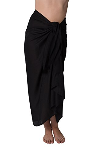 Long Swimsuit Sarong Cover up in Black Simple Edge Without Fringe