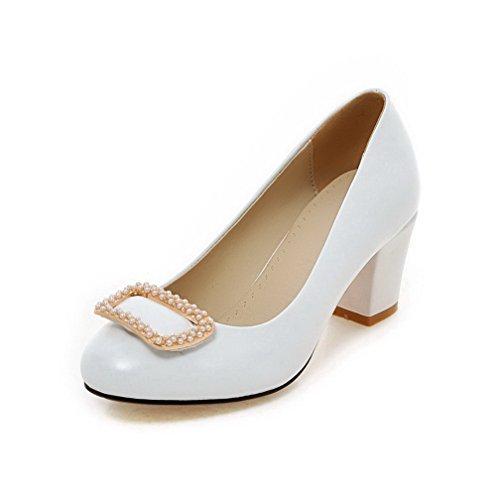 Schuhe Rund Damen Weiß Pumps auf Ziehen PU Eingelegt AllhqFashion Leder Zehe 1cFHqHz