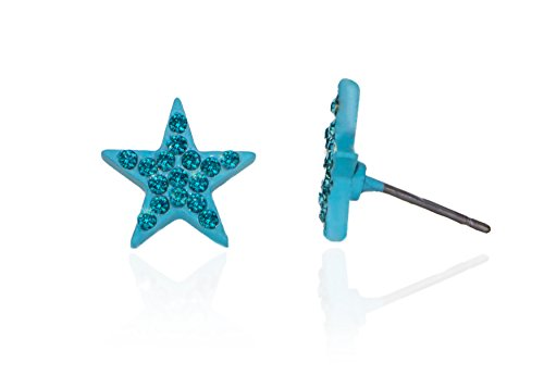 Hypoallergenic Surgical Steel Rhodium Plated Star Shaped Earrings With Light Bule Cubic Zirconia (Aqua Cubic Zirconia Star)