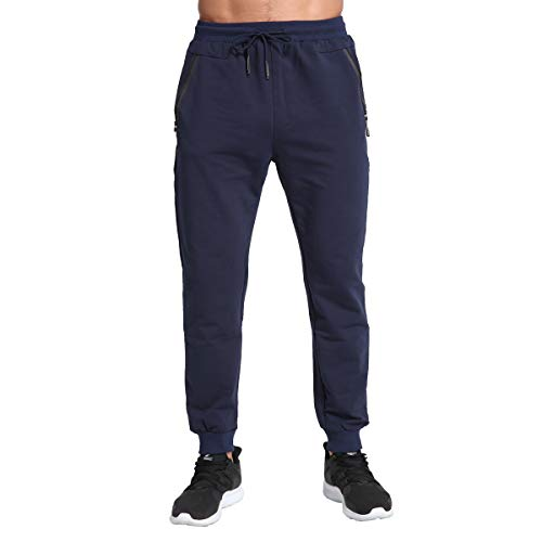 Tansozer Mens Joggers Slim Fit Tracksuit Bottoms Zip Pockets