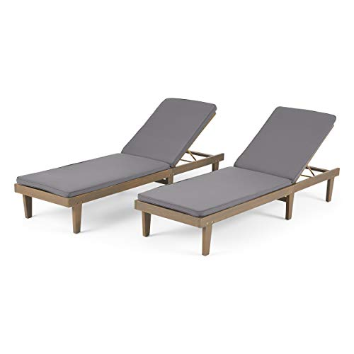 Madge Oudoor Modern Acacia Wood Chaise Lounge with Cushion (Set of 2), Gray and Dark Gray
