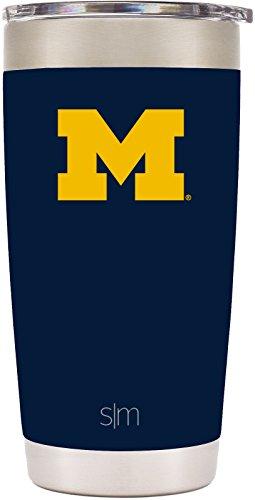 Michigan Logo Mug - Simple Modern 20oz Cruiser Tumbler - Michigan Wolverines Vacuum Insulated 18/8 Stainless Steel Tailgating Cup Travel Mug - Michigan