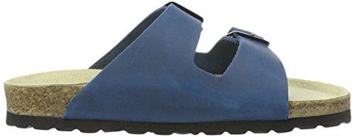 Wörishofer Bio-Pantolette 41110 - Zapatos con hebilla de cuero unisex Azul (Black)