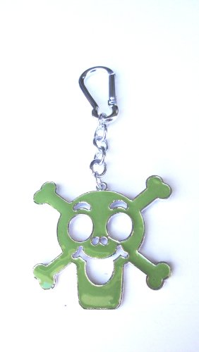 Green Skull and Crossbones Bag Clip Charm, Key Chain/Ring, Great Gift!