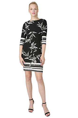 Tiana B Women's 3/4 Sleeve Border Print Moss Crepe Sheath Dress Black/White 16